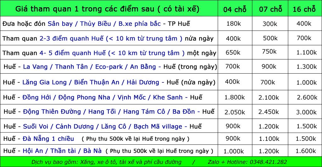 Bảng Giá Cho Thuê Xe Du Lịch Tại Huế